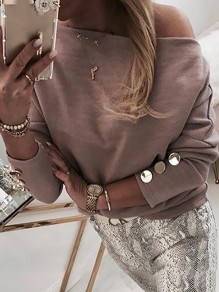 Coffee Patchwork Studded Asymmetric Shoulder Bodycon Going out T-Shirt