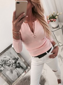 Pink Patchwork Lace Zipper Bodycon Round Neck Sweet T-Shirt