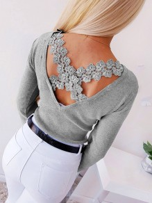 Grey Patchwork Lace Backless Off Shoulder Going out T-Shirt