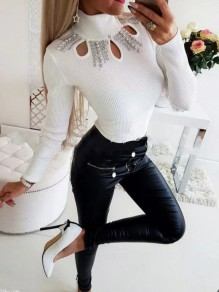 White Patchwork Rhinestone Cut Out Bodycon Sweet T-Shirt