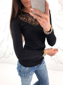 Black Patchwork Lace Long Sleeve Bodycon Going out Short T-Shirt