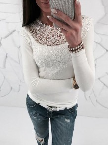 White Patchwork Lace Long Sleeve Bodycon Going out Short T-Shirt