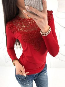 Red Patchwork Lace Long Sleeve Bodycon Going out Short T-Shirt