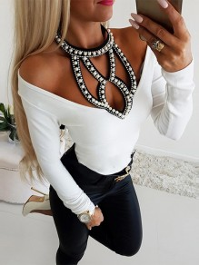 White Patchwork Pearl Cut Out Ttrendy Bodycon Going out T-Shirt