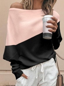 Pink Asymmetric Shoulder Bodycon Comfy Hit Color Going out T-Shirt