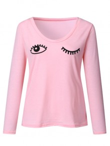 Pink Going out Comfy Sweet Fashion V-neck T-Shirt