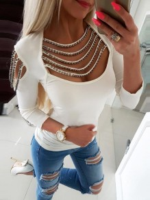 White Patchwork Rivet Cut Out Bodycon Lace-up Fashion T-Shirt
