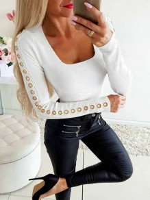 White Patchwork Lace Buttons Bodycon Going out T-Shirt