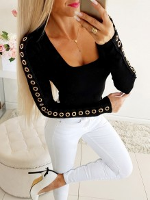 Black Patchwork Lace Buttons Bodycon Going out T-Shirt