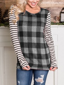 Grey Plaid Striped Long Sleeve Round Neck Casual T-Shirt