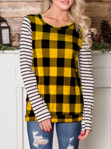 Yellow Plaid Striped Long Sleeve Round Neck Casual T-Shirt