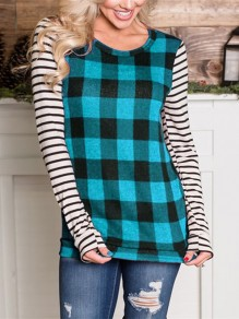 Sky Blue Plaid Striped Long Sleeve Round Neck Casual T-Shirt