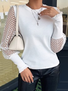 White Patchwork Grenadine Cut Out Mesh Sleeve Elegant Party T-Shirt