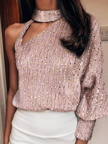 Rose Gold Patchwork Cut Out Bright Wire Bodycon Fashion T-Shirt
