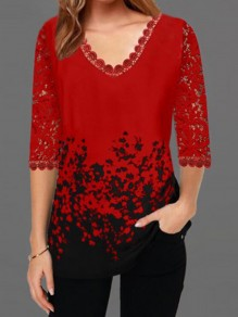 Red Black Patchwork Lace V-neck Elbow Sleeve Elegant T-Shirt