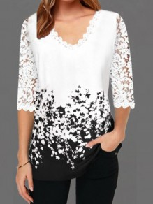 White Black Patchwork Lace V-neck Elbow Sleeve Elegant T-Shirt