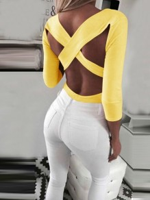 Yellow Cut Out Cross Back Backless V-neck Long Sleeve Fashion T-Shirt