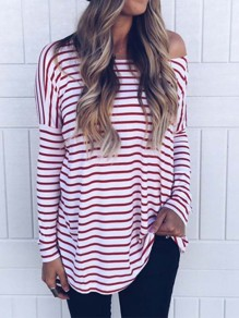 Red Gingham Off Shoulder Long Sleeve Fashion T-Shirts