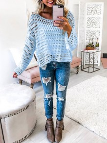 Blue Cut Out Going out Comfy Knitwear Round Neck T-Shirt