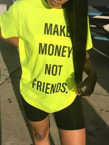 """Neon Yellow """"MAKE MONEY NOT FRIENDS""""Letter Print Round Neck Short Sleeve Casual T-Shirt"""