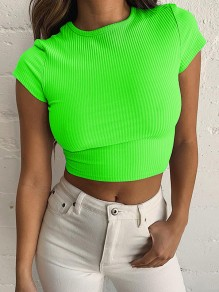 Neon Green Round Neck Short Sleeve Crop Skinny Casual T-Shirt