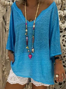 Blue Bodycon Comfy V-neck 3/4 Sleeve Going out T-Shirt