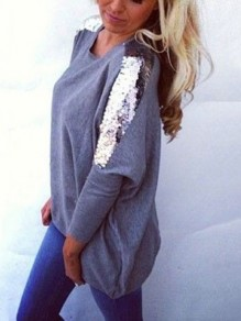 Grey Sequin Long Sleeves Round Neck Cotton Loose Casual Womens T-shirt