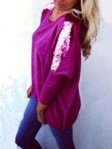 Purple Sequin Long Sleeves Round Neck Cotton Loose Casual Womens T-shirt