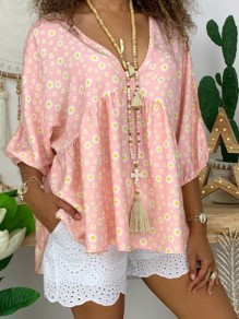 Pink Floral Print Comfy Peplum V-neck 3/4 Sleeve Going out Cute Sweet Casual T-Shirt