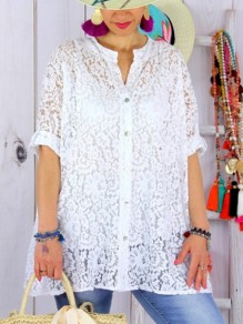 White Patchwork Lace Bodycon Ttrendy Comfy Going out T-Shirt