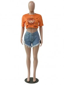 "Orange ""ROCK"" Pattern Print Ripped Round Neck Short Sleeve Crop Cute Hippy T-Shirt"