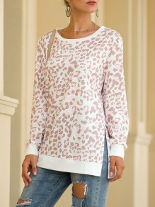 Beige Leopard Print Round Neck Long Sleeve Casual T-Shirt