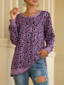 Purple Leopard Print Round Neck Long Sleeve Casual T-Shirt