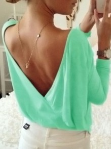 Green Backless Round Neck Long Sleeve Oversize T-Shirt