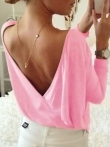 Pink Backless Round Neck Long Sleeve Oversize T-Shirt