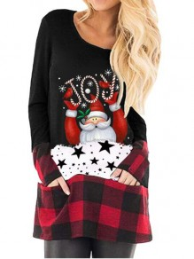 Black-Red Plaid Santa Pattern Pockets Christmas Long Sleeve Oversized T-shirt