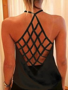 Black Cut Out Halter Neck Spaghetti Straps Backless Fashion Vest