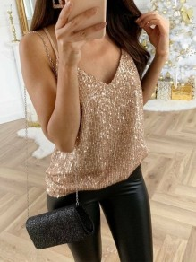 Golden Sequin Sparkly Glitter Spaghetti Strap V-neck Fashion Vest
