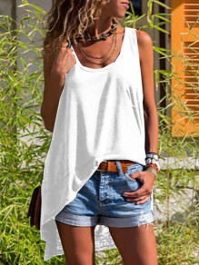 White Irregular Bodycon High-low Flowy Comfy Going out Vest