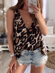 Brown Leopard Print V-neck Fashion Vest