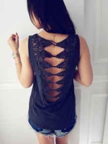 Black Cut Out Backless Summer Lace Casual Women Daily Fashion Vest