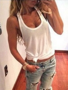 White Casual Fashion Cute Comfy Going out Fashion Vest