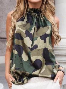Green Camouflage Bodycon Comfy Lace-up Halter Neck Going out Vest