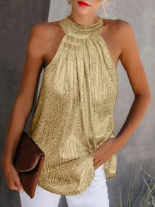 Golden Sequin Draped Halter Neck Sparkly Elegant Party Vest