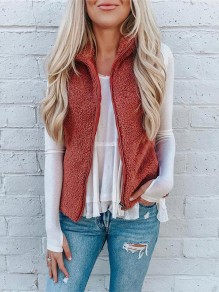 Date Red Patchwork Zipper Sleeveless Others Fashion Vest