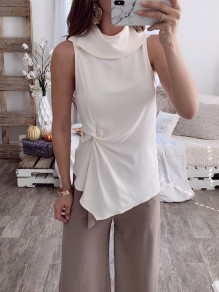 White Ruffle Irregular Fashion Polyester Vest