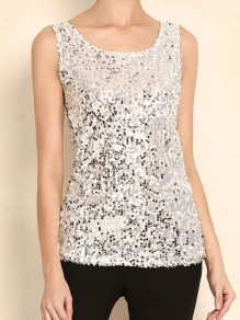 Silver Sequin Glitter Sparkly Round Neck Sleeveless Fashion Vest