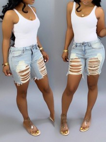 Light Blue Distressed Ripped Cut Out Pockets Casual Short Jean