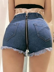 Dark Blue Zipper Buttons Pockets Ripped Destroyed High Waisted Fashion Short Jeans