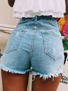 Light Blue Cut Out Pockets Buttons High Waisted Ripped Destroyed Short Jeans